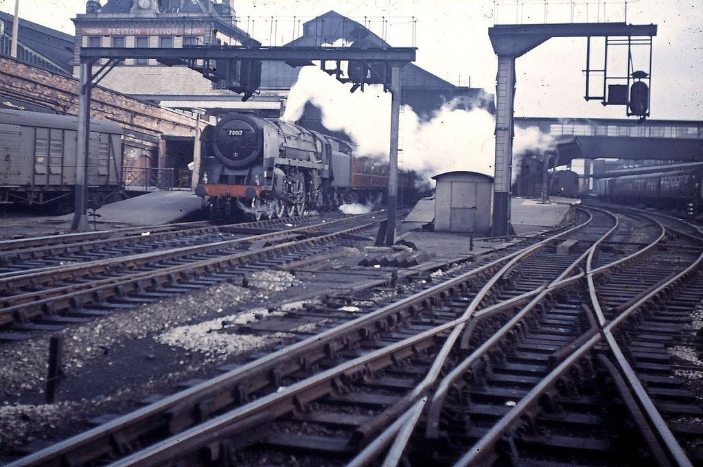 Preston Railway Station April 21, 1965. Brittania class No. 70017 'Arrow' about to depart from the north end of platform 5.