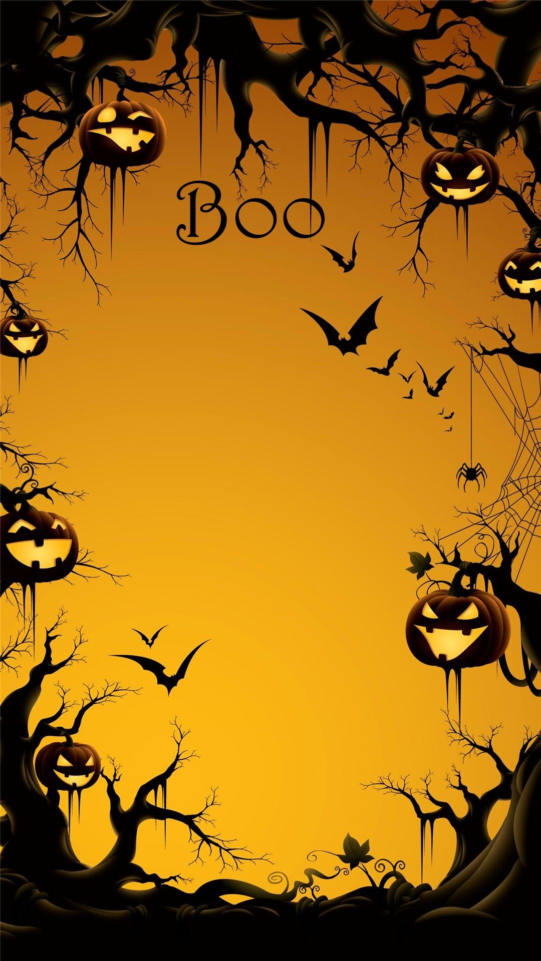 2014 Boo Halloween iPhone 6 plus wallpaper with pumpkin on