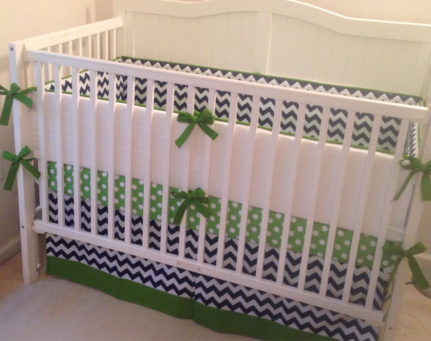 Crib bedding set gray white navy blue with by butterbeansboutique - Navy And Green Crib Set Ready To Ship By Butterbeansboutique 340 00