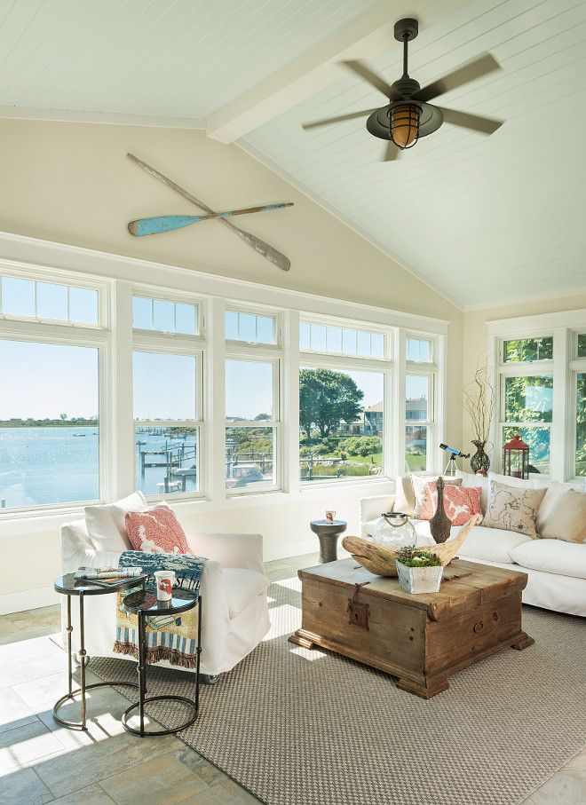 Sherwin Williams Sea Salt Ceiling Paint Color Is Sherwin Williams Sea Salt Beach House Interior Cottage Interiors Beach Cottages