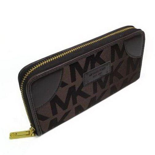 Michael Kors Logo Signature Large Coffee Wallets : mkvip2016.com