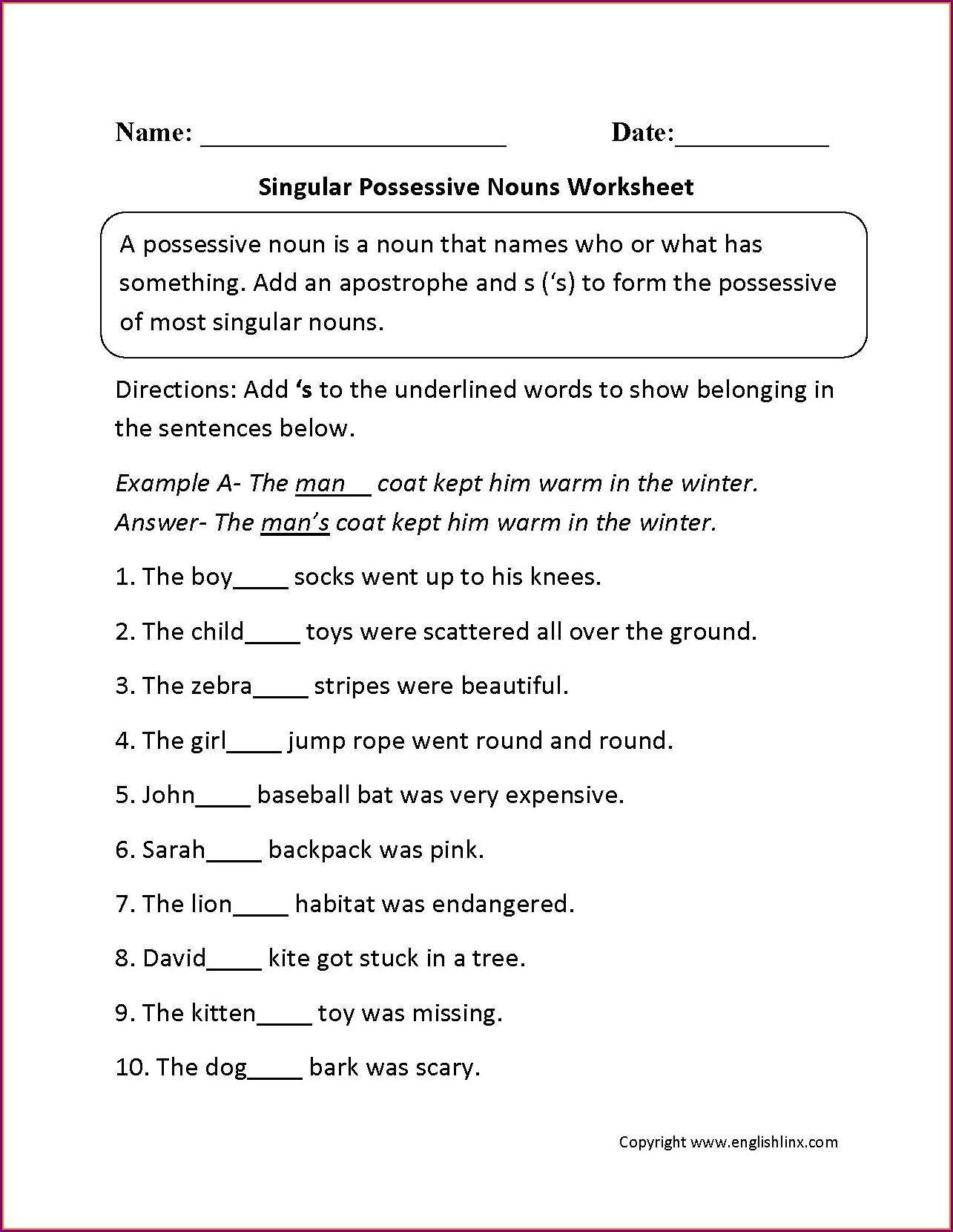 Possessive Noun Worksheets Middle School Possessive Nouns Worksheets Elementary Possessive Nouns Worksheets Possessive Nouns Nouns Worksheet