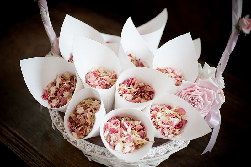 dried rose petals to throw at bride and groom | Rice cones ...