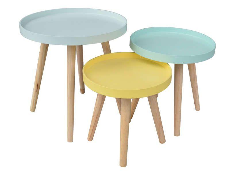 Set de 3 tables d\'appoint SWEET - pas cher ? C\'est sur ...