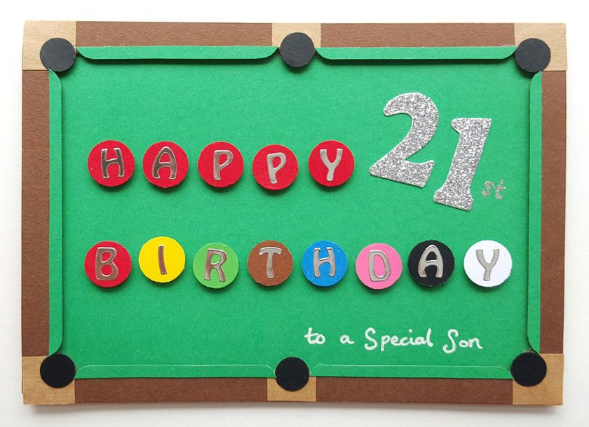 Bespoke snooker birthday card handmade handmade thank