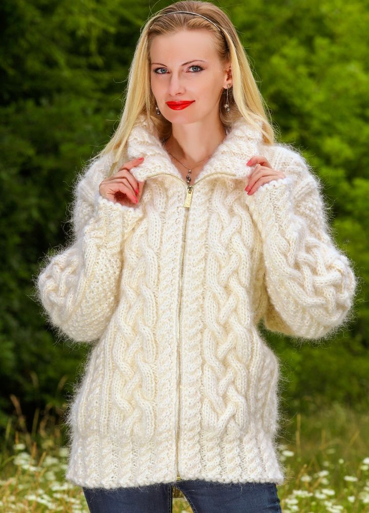 Ivory Hand Knitted Mohair Sweater Turtleneck Cardigan With