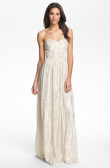 Erin By Fetherston Shirred Metallic Chiffon Gown Nordstrom