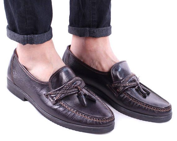 80cd1f3e2263a Us mens 9 Tassel Loafers 80s Brown Leather Driver Shoes Vintage Slip ...