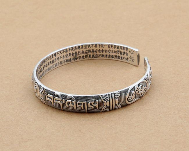 8cbacc8c0 S999 Sterling Silver Jewelry Retro Thai Silver Simple Scrub Six Word Heart  Sutra Open Bracelet [PB004] - $72.00 : Thailand Silver Jewelry- Silver  Jewerly ...