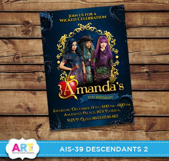 Descendants 2 Invite Birthday Invitations Digital Printable Party Customized