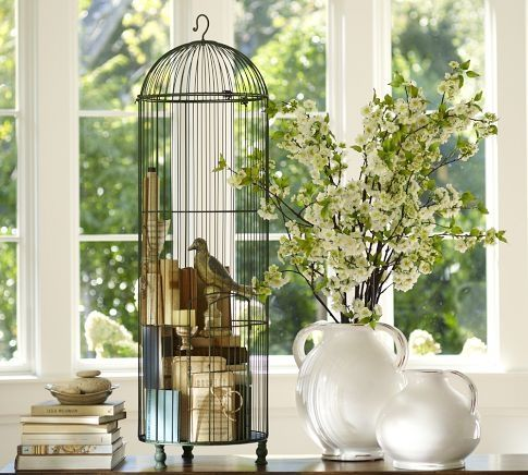 Decorating With Old Bird Cages | Love How They Used Books Inside This  Birdcage Display!