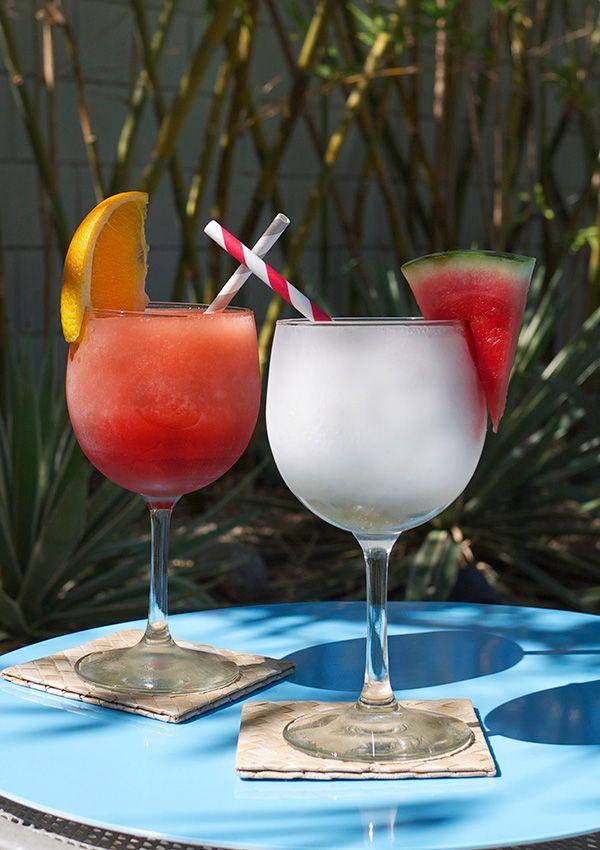 Frozen Negroni Cocktail Slushies. Classic - Gin, Campari, Sweet Vermouth, Orange Slices. Watermelon White Negroni - Watermelon, Gin, Watermelon Gin (Recipe), Cocchi Americano, Dry Vermouth, Orange Slices.