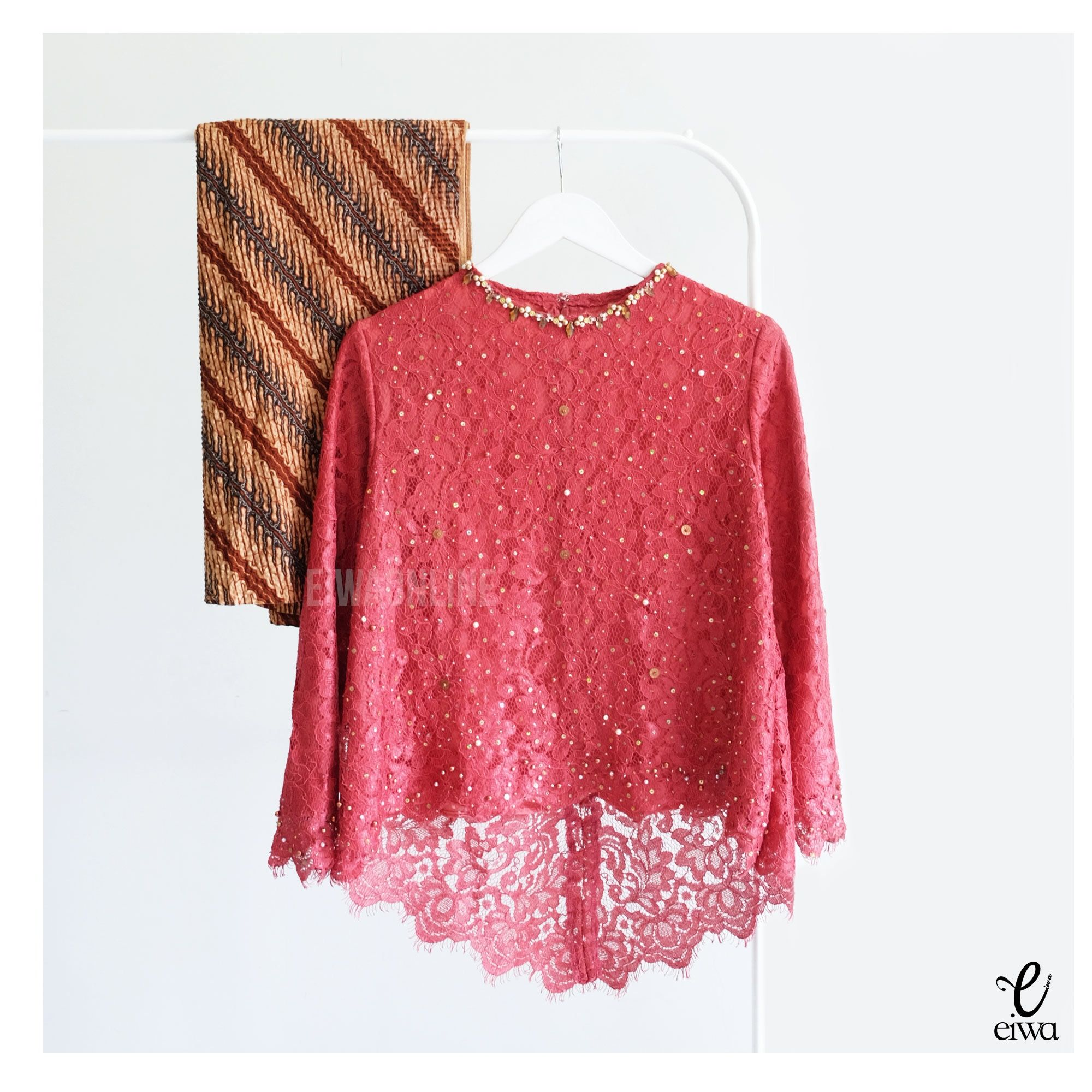 Kebaya Indonesia modern high low - hi low lace brokat long sleeve hijab muslim baju bodo IG : @eiwaonline