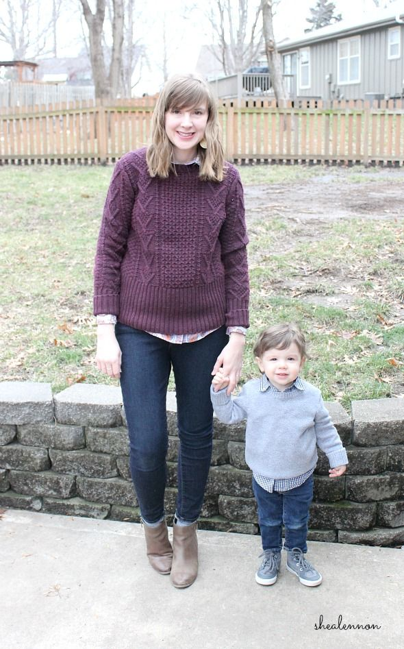 9a81248791522 Winter outfit ideas for mom and toddler boy - solid sweater with a print  button-up shirt and jeans. Cozy and cute! Click through for details!