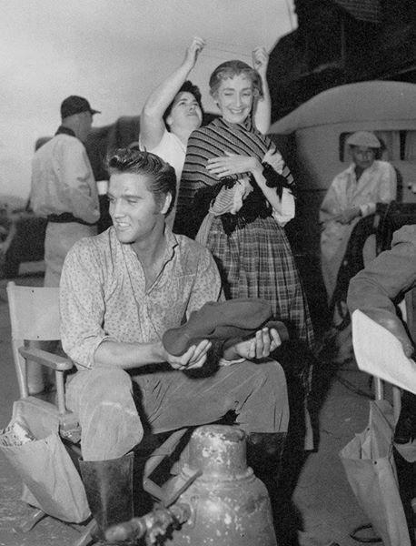 Elvis Presley movie-set LOVE ME TENDER with actress Mildred Dunnock
