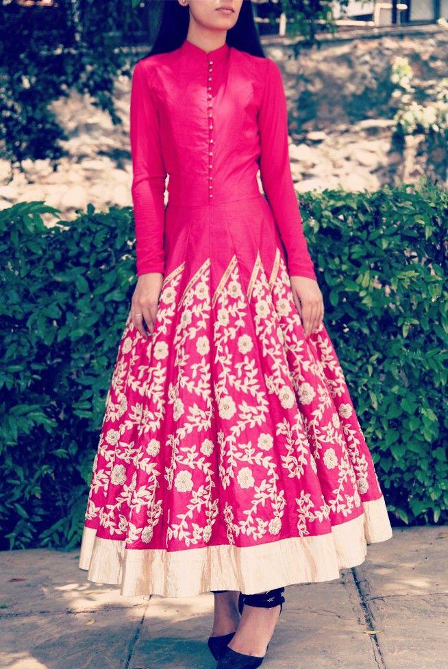 b62881267cb0 Raspberry Pink Long Leaf Embroidered Anarkali with Churidar