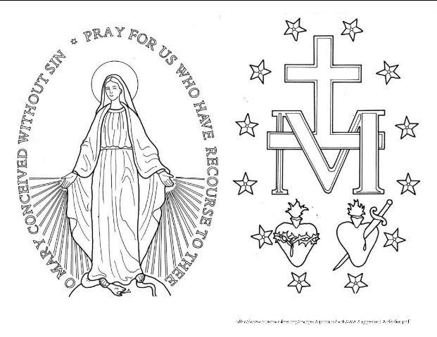 St Catherine Laboure Humility Catholic Symbols Coloring