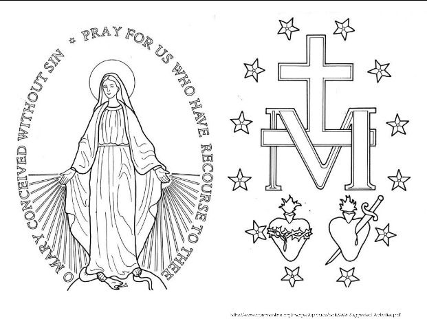 St Catherine Laboure Humility Catholic Symbols Coloring
