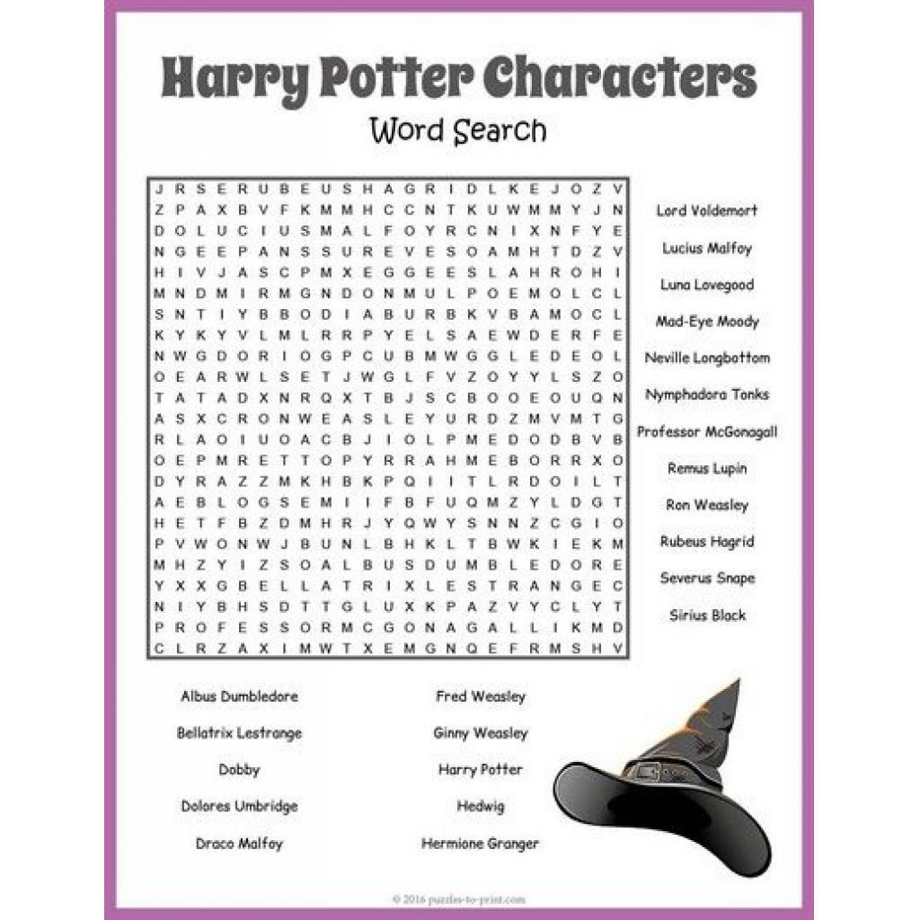 Free Printable Harry Potter Word Search Puzzle