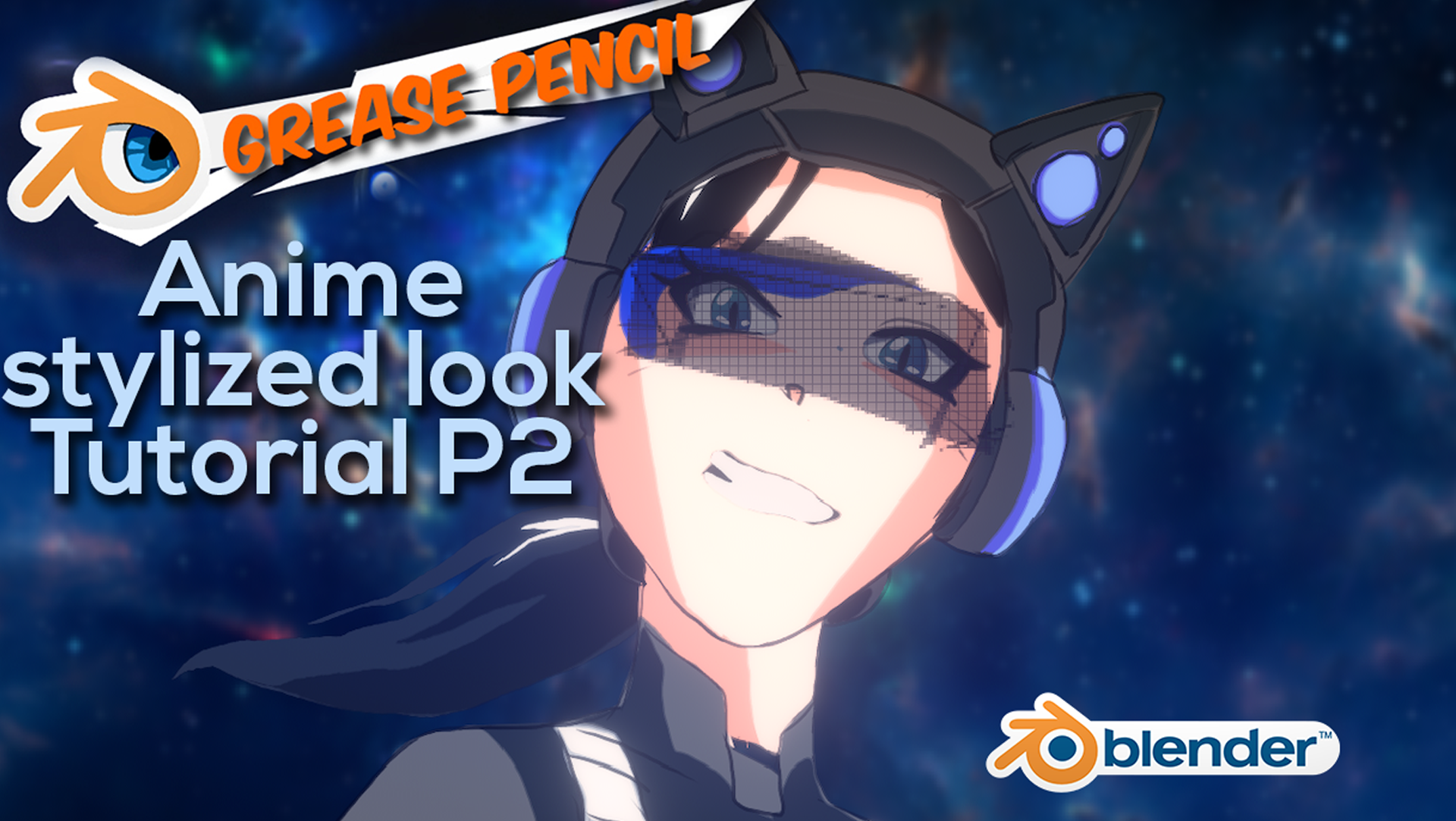 Anime stylized look in Blender grease pencil Neko girl