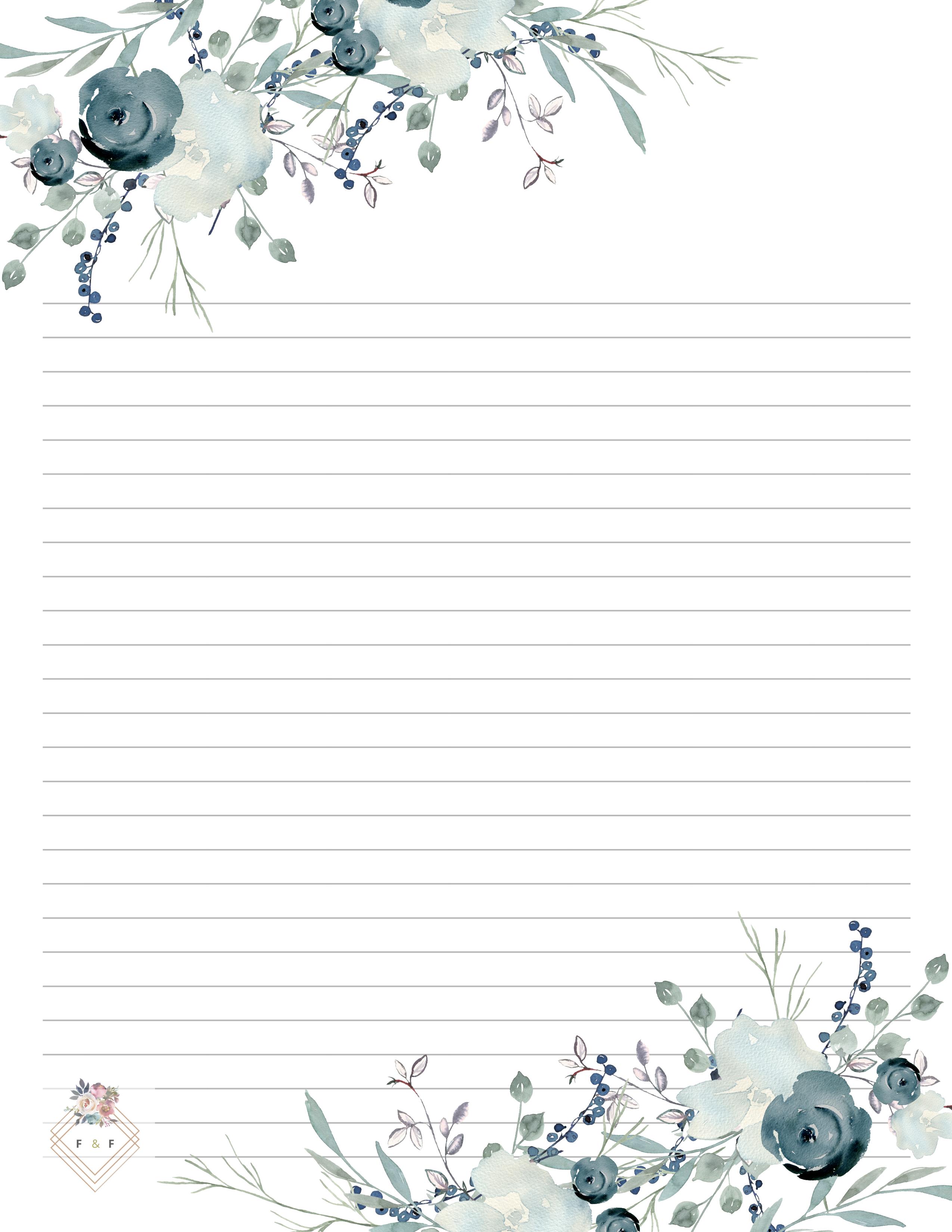 Blue Printable Letter Paper Set Floral Writing Paper 10 Page Etsy Writing Paper Printable Writing Paper Printable Stationery Free Printable Stationery