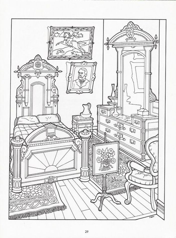 Bedroom Drawing: Realistic Bedroom Of Victorian House Detailed Coloring
