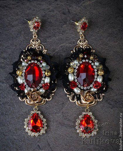 Красные серьги - ярко-красный,серьги,серьги красные,ажурные серьги,серьги барокко