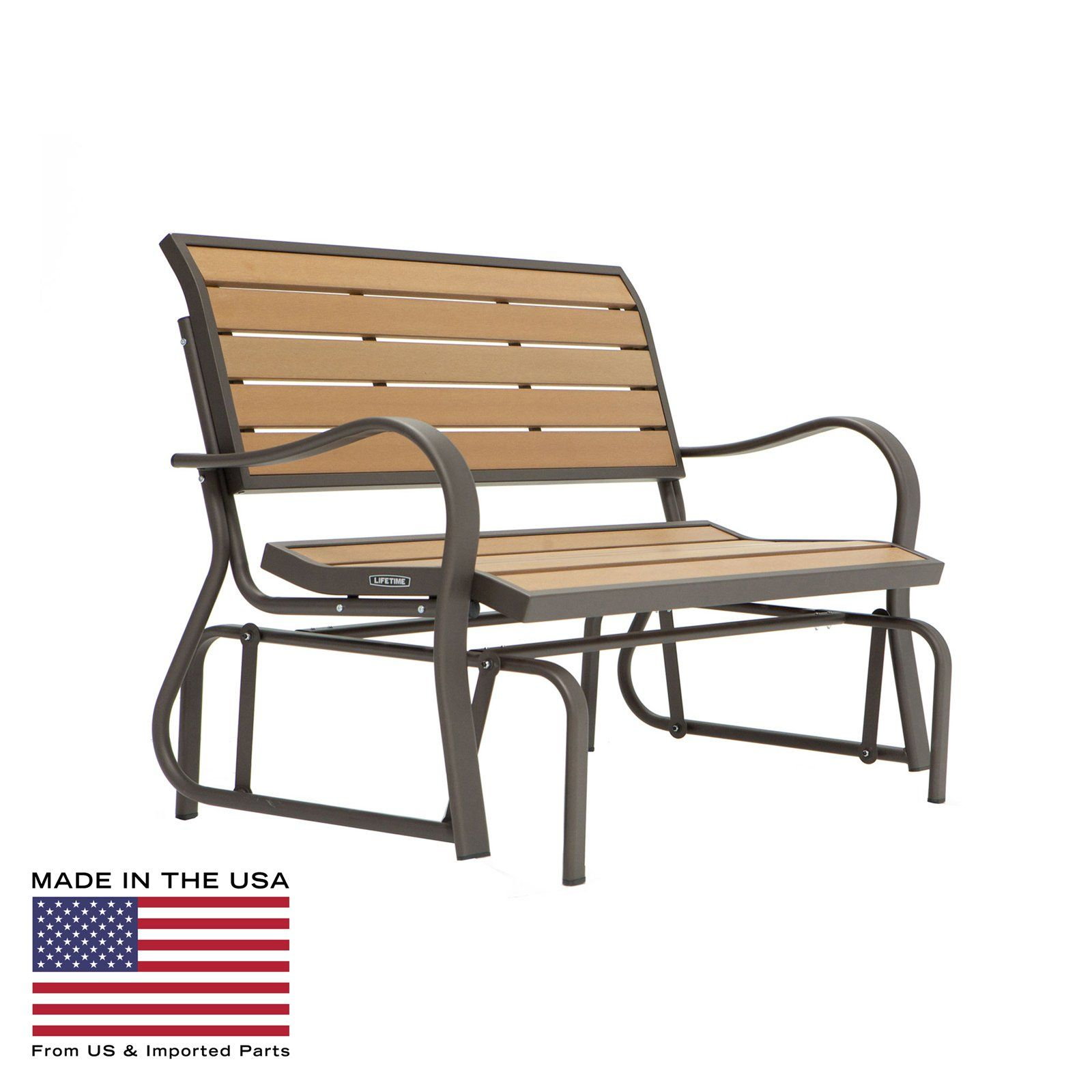 Have to have it. Lifetime Products Wood Grain Outdoor Glider Loveseat - $174.99 @hayneedle
