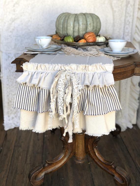 Custom Table Runner with Saying,Multi Ruffle Table Runner,Ivory White Beige Canvas,Linen,Handmade,Fr