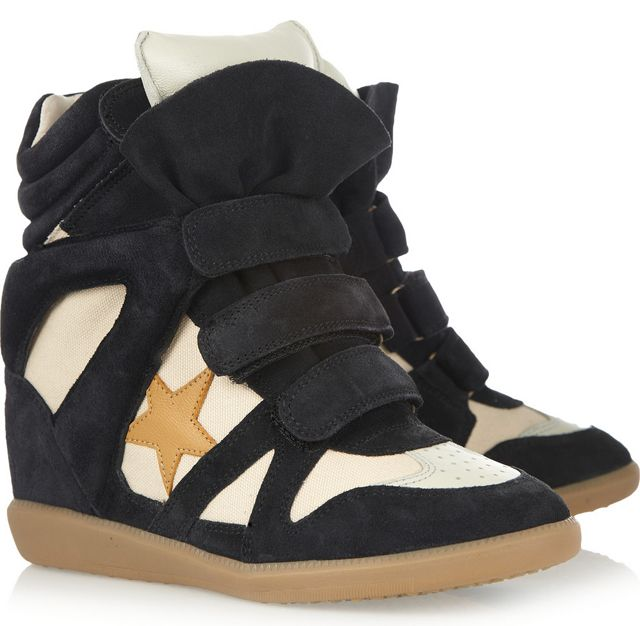 Shoe Obsession: Isabel Marant Bayley Suede and Leather High Top Wedge  Sneakers
