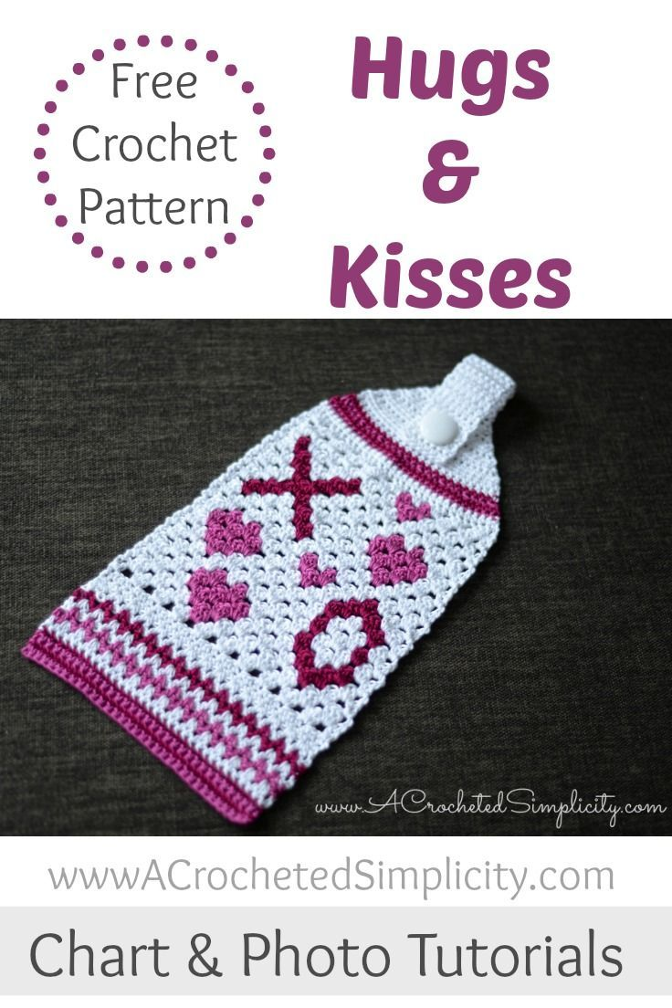 Free Crochet Pattern - Hugs & Kisses Crochet Towel | Pinterest ...