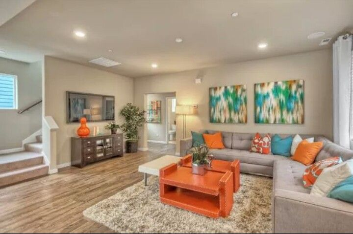 Love the teal and orange combo in 2019 living room - Orange and teal decor ...