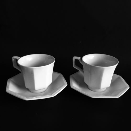 2 Sets Cup & Saucer Johnson Brothers Heritage White Ironstone ...