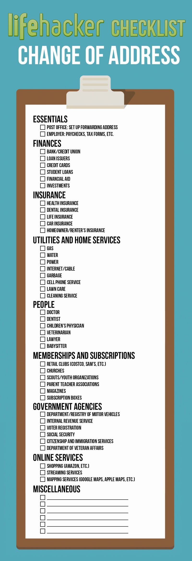 Change Your Address Everywhere On This Printable Checklist When ...