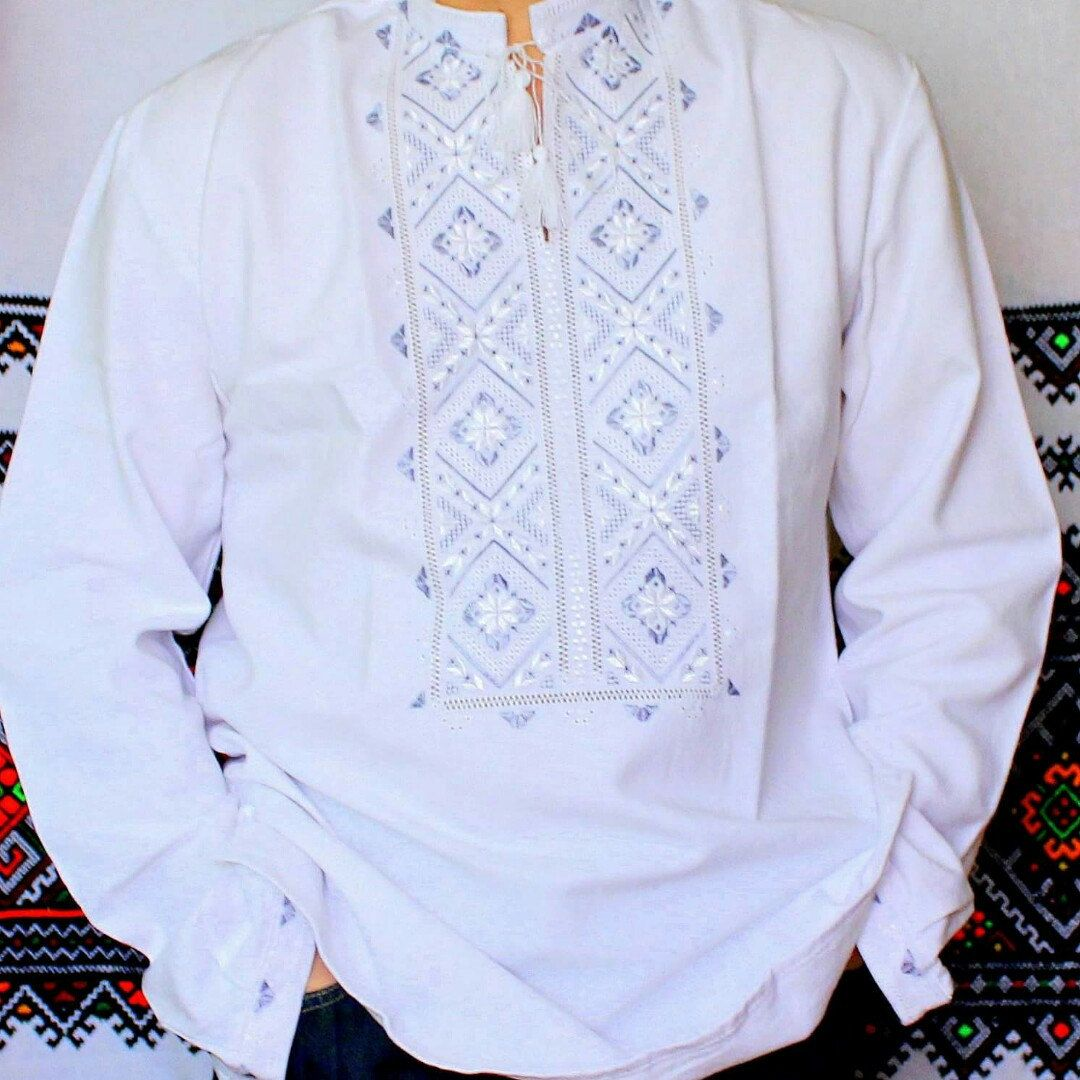Wedding white mens shirt with gray embroidery homespun cloth wedding white mens shirt with gray embroidery homespun cloth easter gift for him negle Gallery