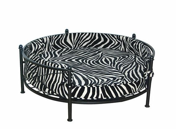 Round Zebra Print Chenille Fabric Upholstered Pet Bed With Black