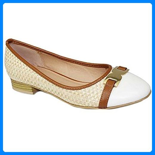 FANTASIA BOUTIQUE Damen Verwebt Slipper Niedriger Absatz Gold Schnalle Zweiton Flache Pumps Schuhe - Beige, 3 UK / 36 EU