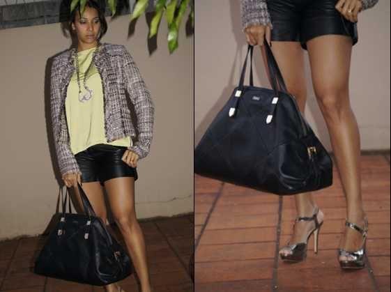 Leather shorts + tweed