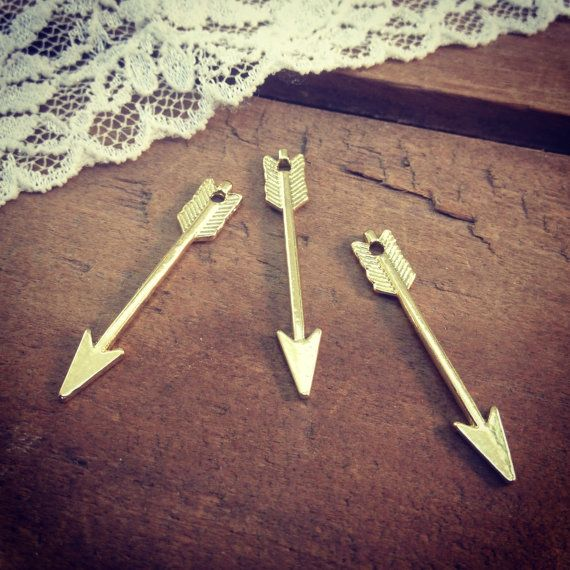 4 - Arrow Charms, 24K GOLD Plated, Native American, Vintage Jewelry Supplies on Etsy, $3.24