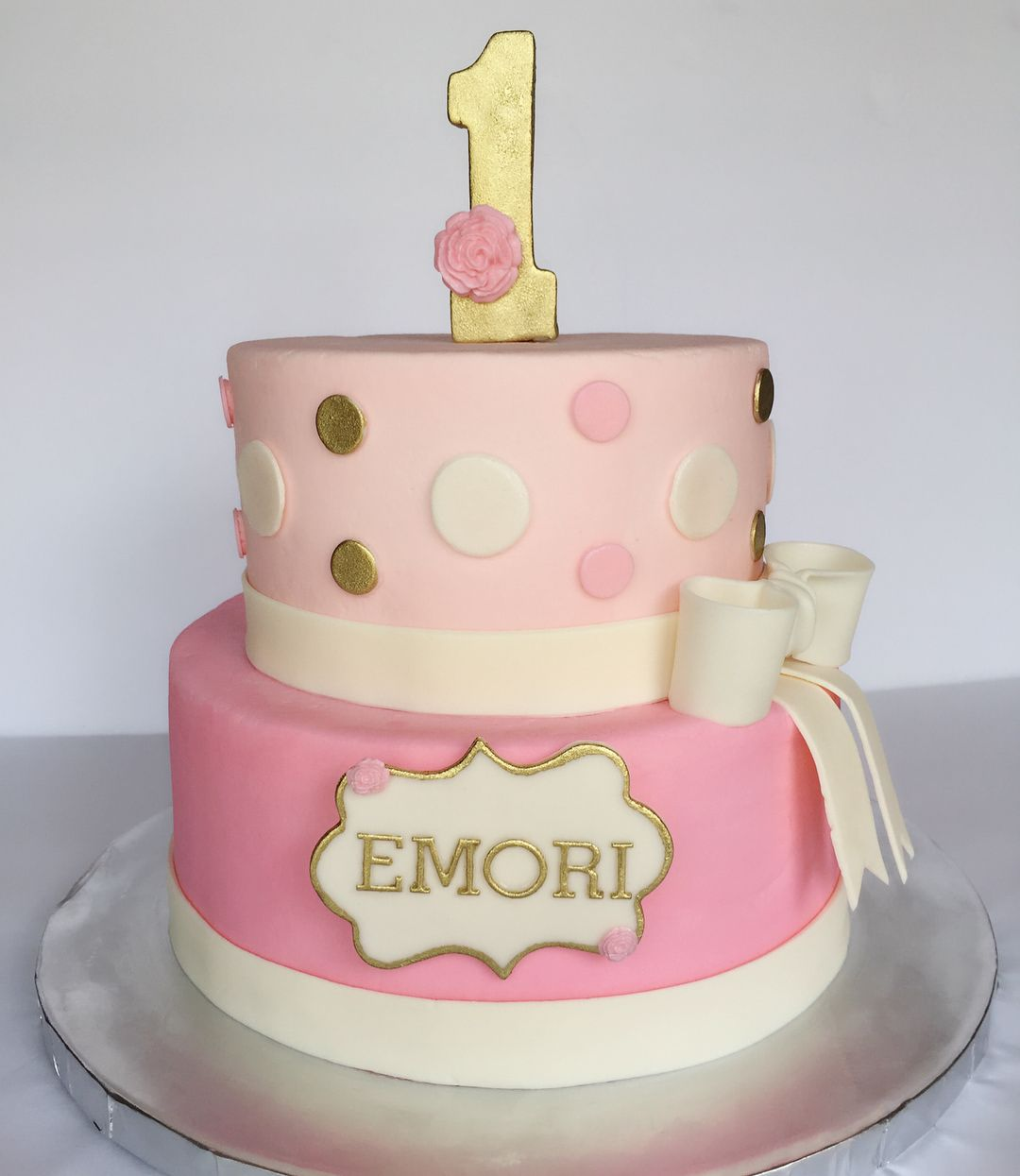 Pink & gold 1st birthday cake 🎀 1st birthday cake