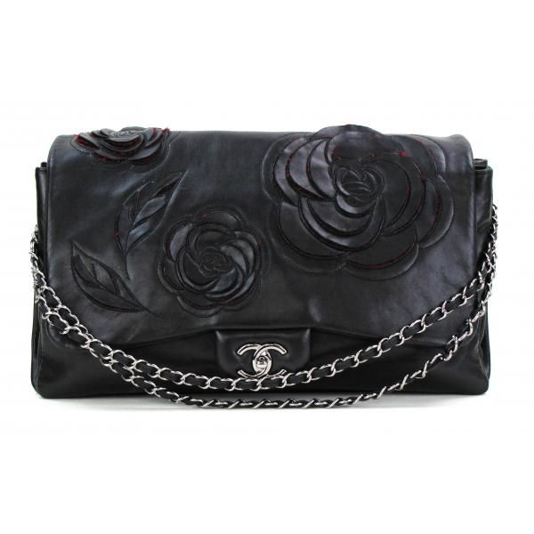 Chanel Black Lambskin Leather Tweed Petals Camellia Maxi Flap Bag