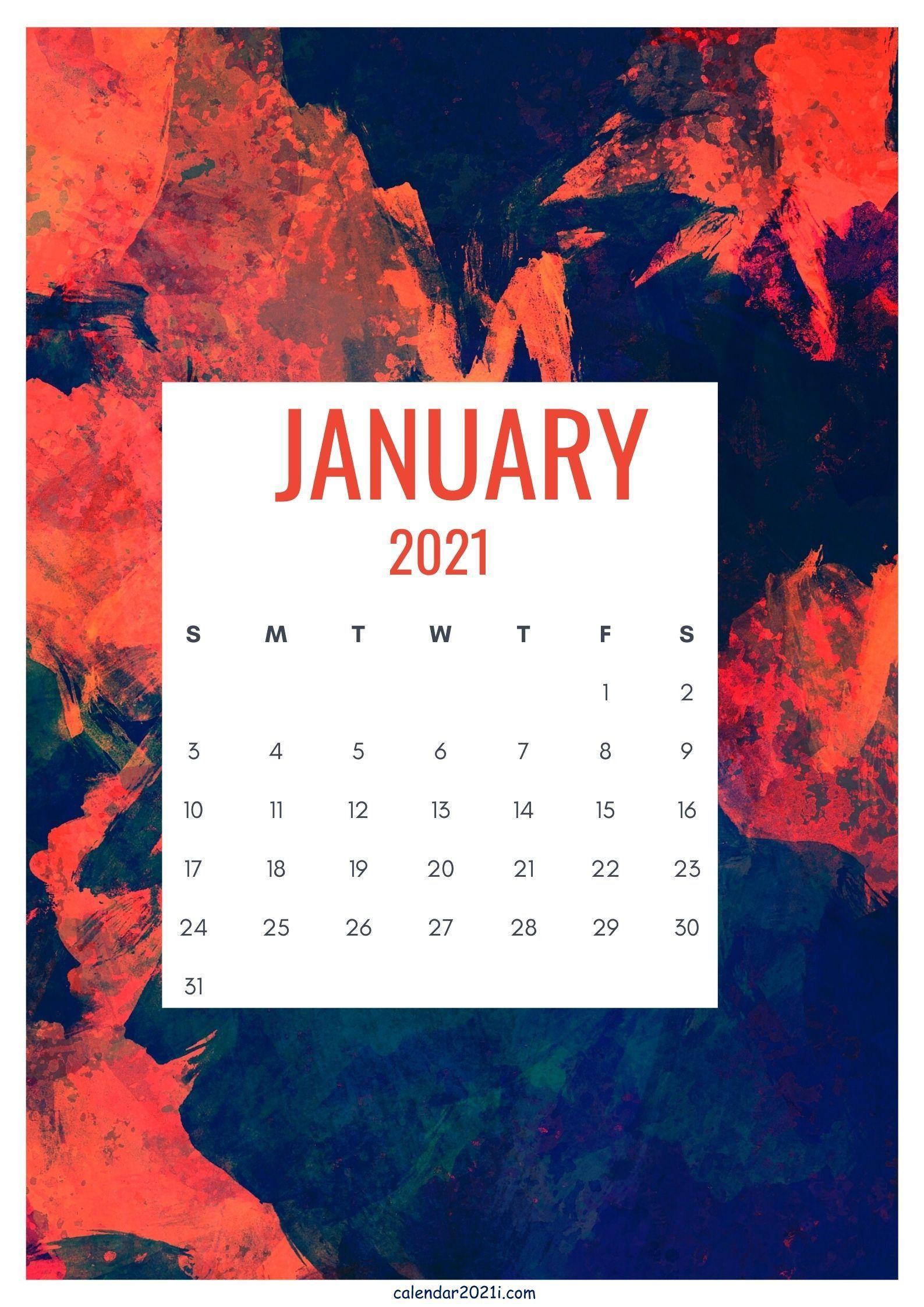 Cute January 2021 Calendar Design layout free download in ...