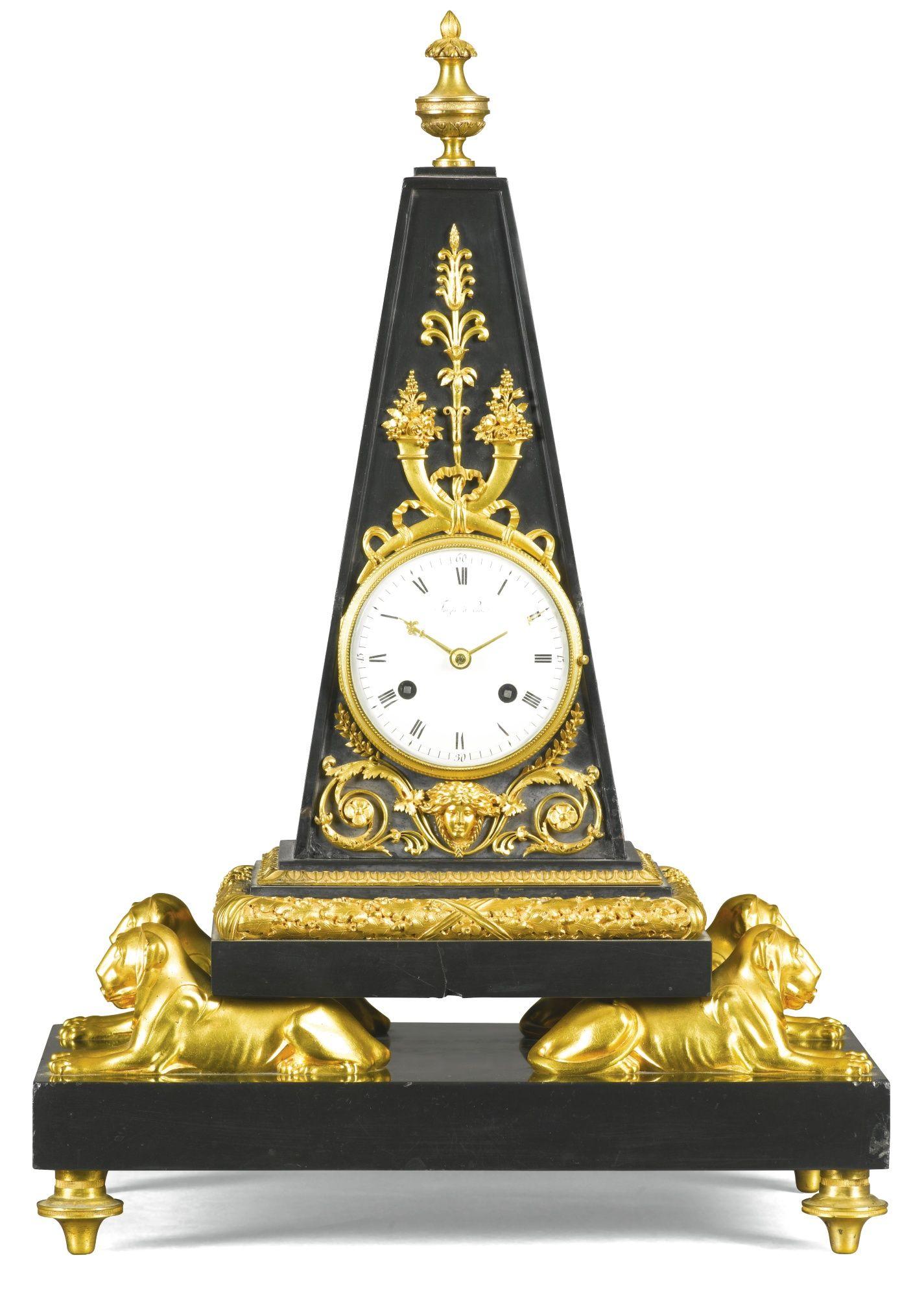 An Empire Black Marble And Gilt Bronze Obelisk Mantel Clock Circa 1810 With 3 Inch Enamel Dial Signed Faizan A Pari Relojes Antiguos Relojes De Pared Reloj