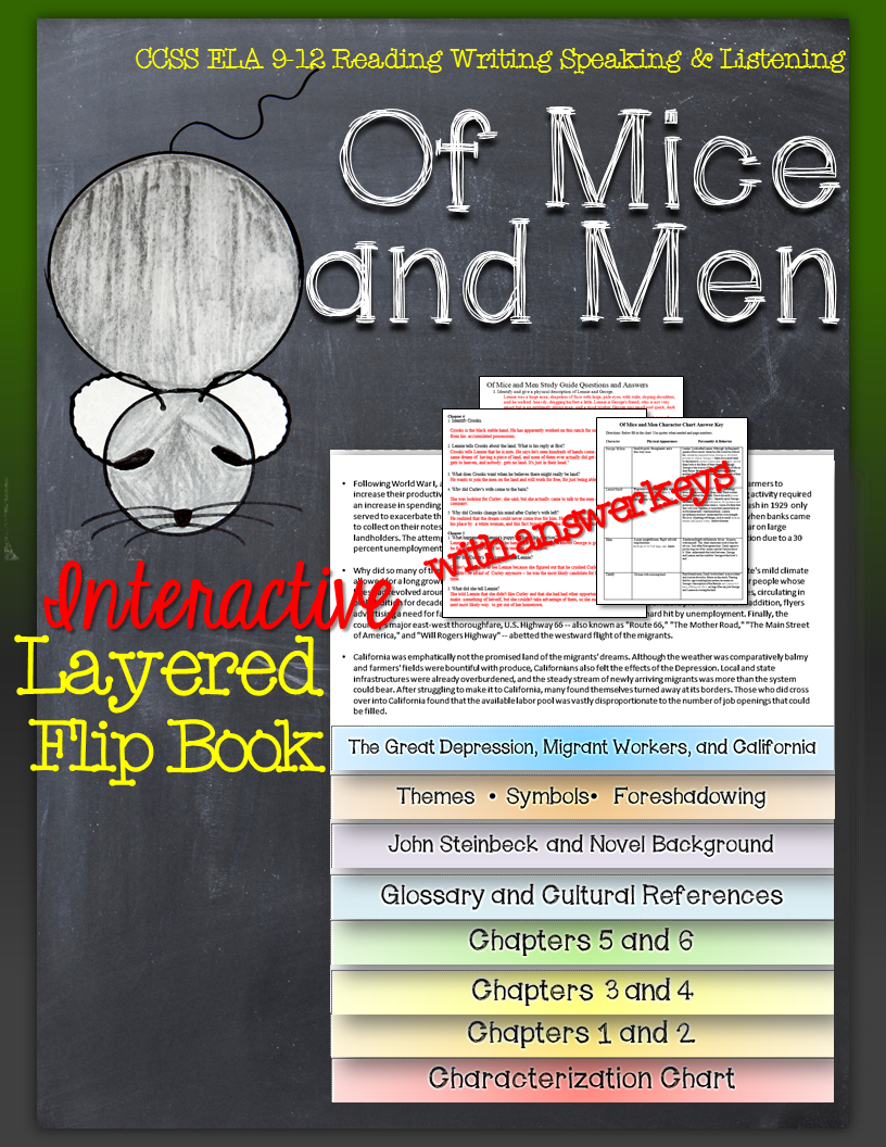 follow george and lennie in of mice and men this interactive of mice and men novel study literature guide flip book