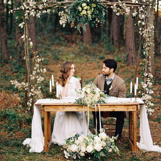 Sophisticated yet whimsical outdoor wedding inspiration shoot.