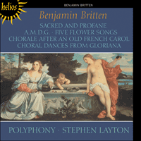 The CD cover of Polyphony's recording of Benjamin Britten's 'Sacred and Profane'. The painting is Titian's 'Amor sacro e amor profano'.