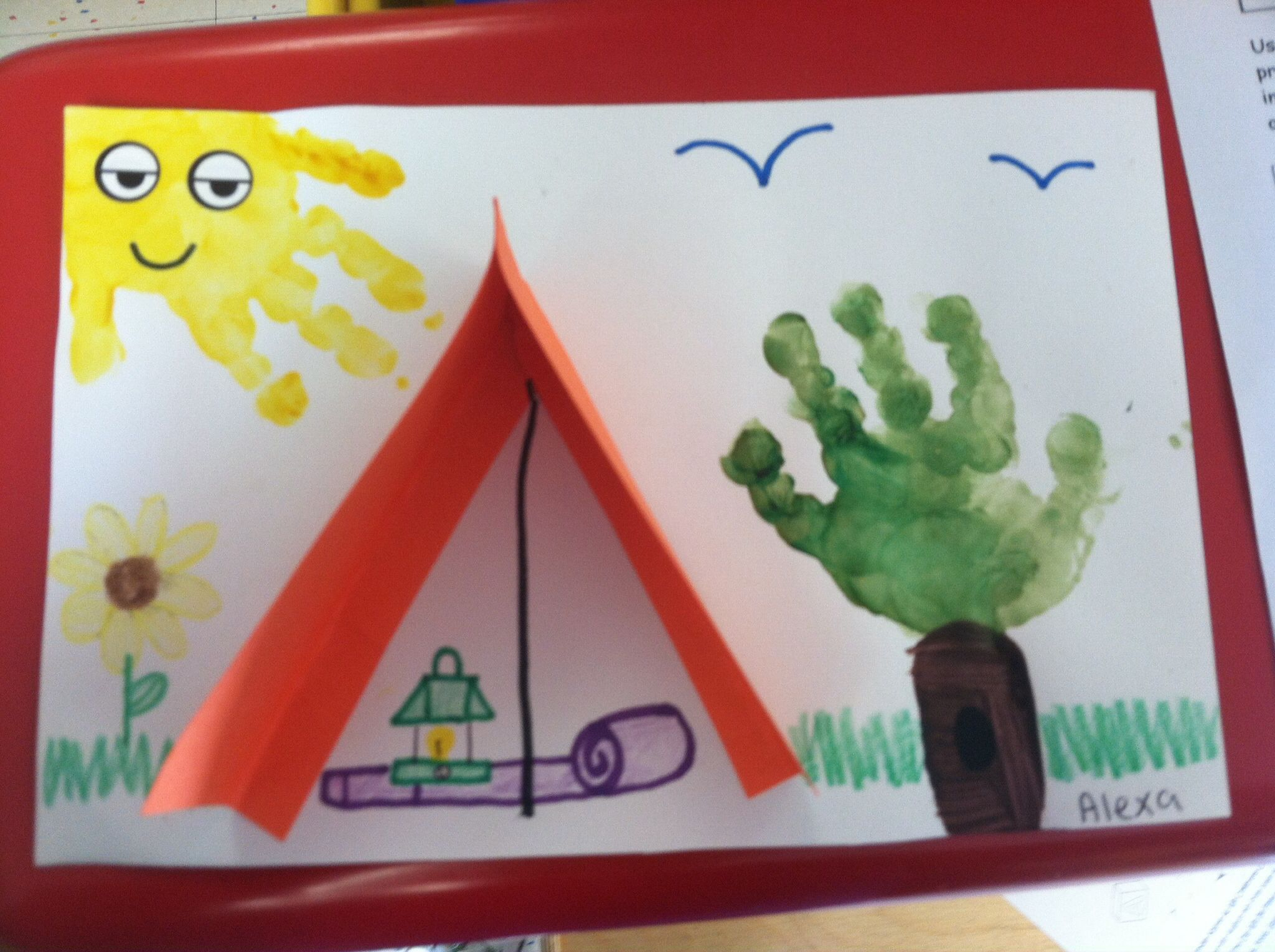 Camping Scene Handprint Tree Sun Add A Photo For Great First Day