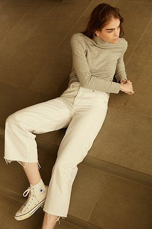 BDG Ali Cropped Raw Edge A-Line White Jeans | Urban outfitters ...