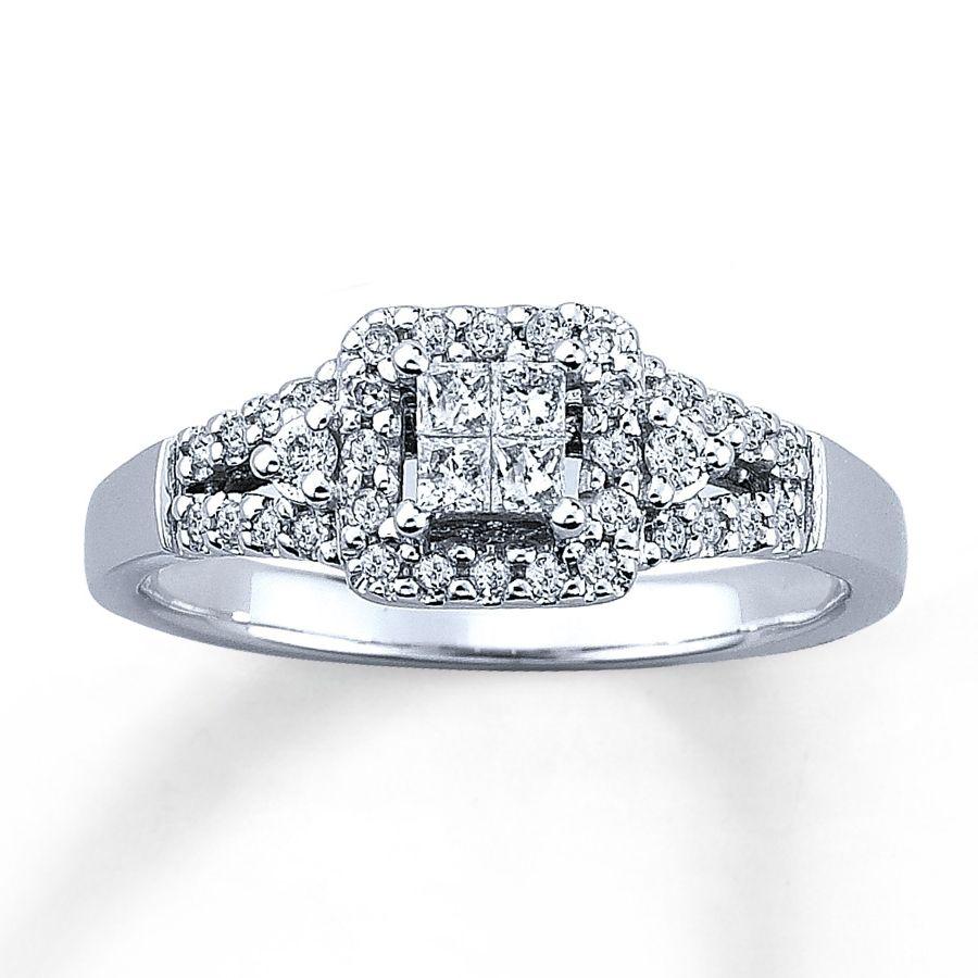 Crushed Diamond Engagement Ring