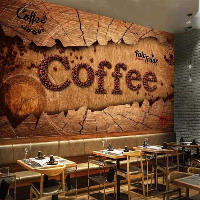 Custom 3d Wallpaper European Retro Vintage Coffee Mural Advanced Waterproof Material Wallpapers Aliexpress Coffee Shop Decor Coffee Wallpaper Cafe Decor